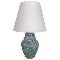 1940s French Hand-Painted Glazed Ceramic Lamp