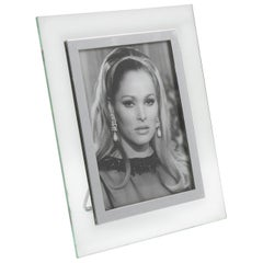 1940s French Hollywood Regency Glass and Chrome Picture Photo Frame