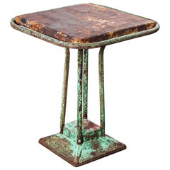 1940s French Industrial Square Dining, Console Table