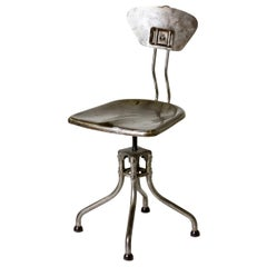 1940s French Industrial Steel Flambo Chair