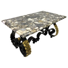 1940s French Iron, Brass and Marble Coffee Table