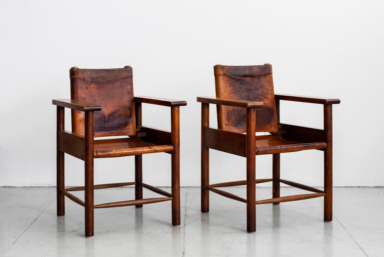 1940s French Leather Chairs For Sale 8