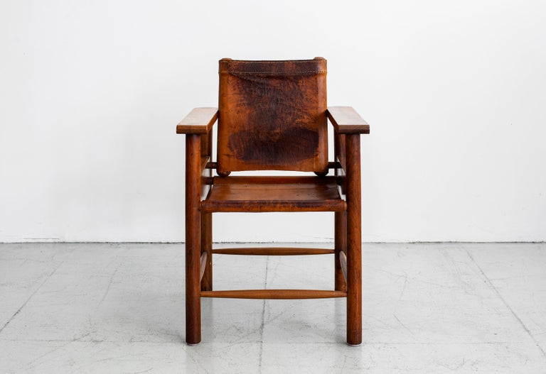 1940s French Leather Chairs In Good Condition For Sale In Los Angeles, CA