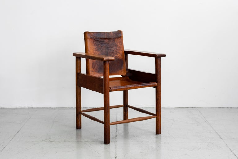 20th Century 1940s French Leather Chairs For Sale