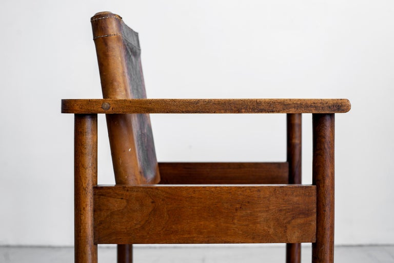 1940s French Leather Chairs For Sale 3