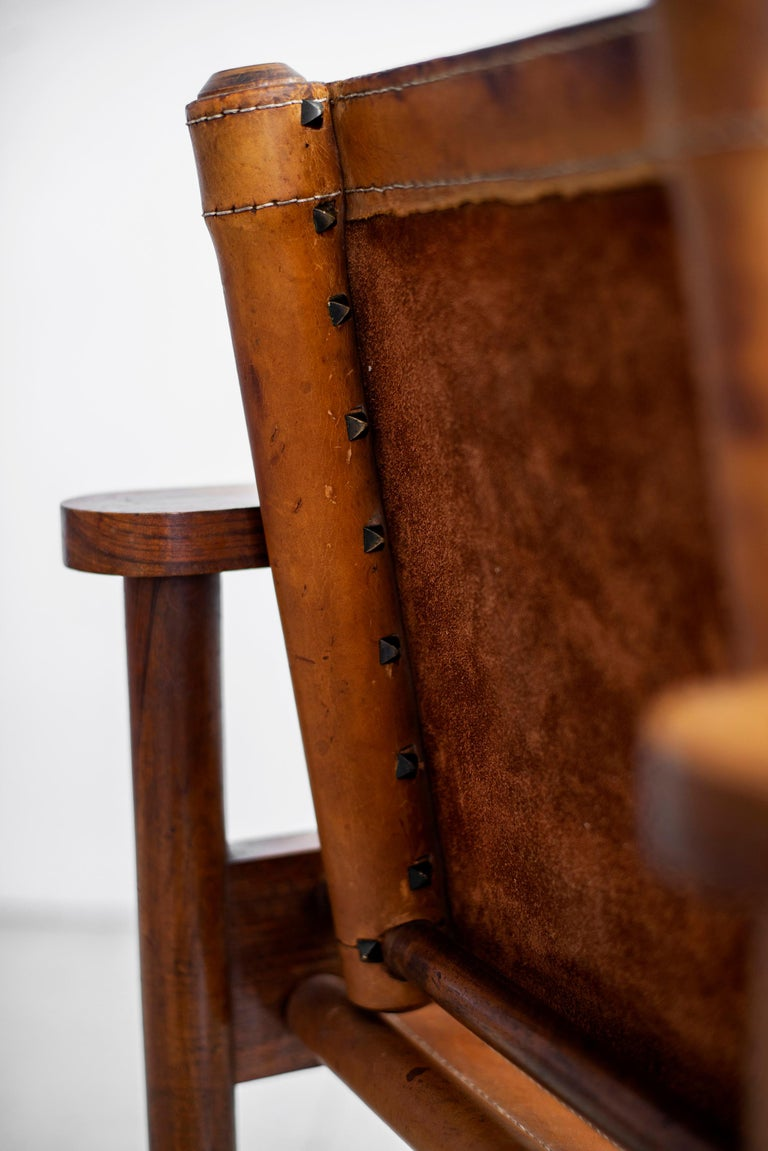 1940s French Leather Chairs For Sale 5