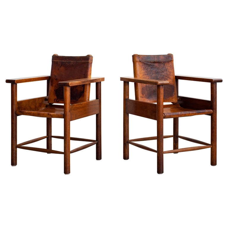 1940s French Leather Chairs For Sale