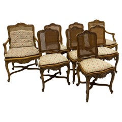 1940s French Louis XV Style Carved Fruitwood Caned Dining Chairs, S/8