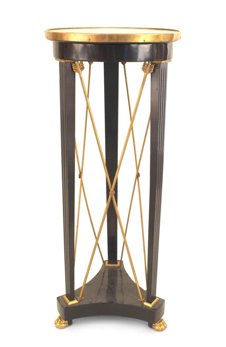 French 1940s (Louis XVI style) ebonized pedestal with bronze