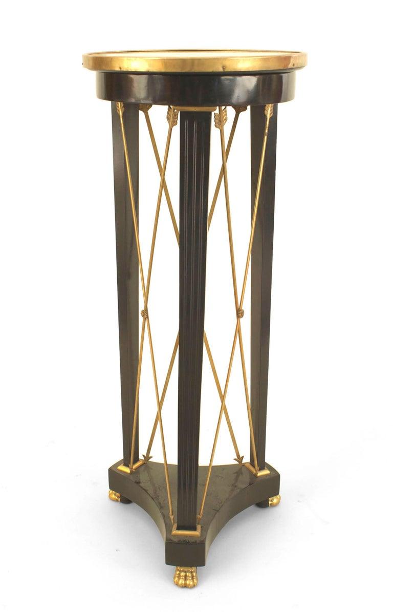 Ebonized 1940s French Louis XVI Bronze-Trimmed Pedestal, by Jansen For Sale