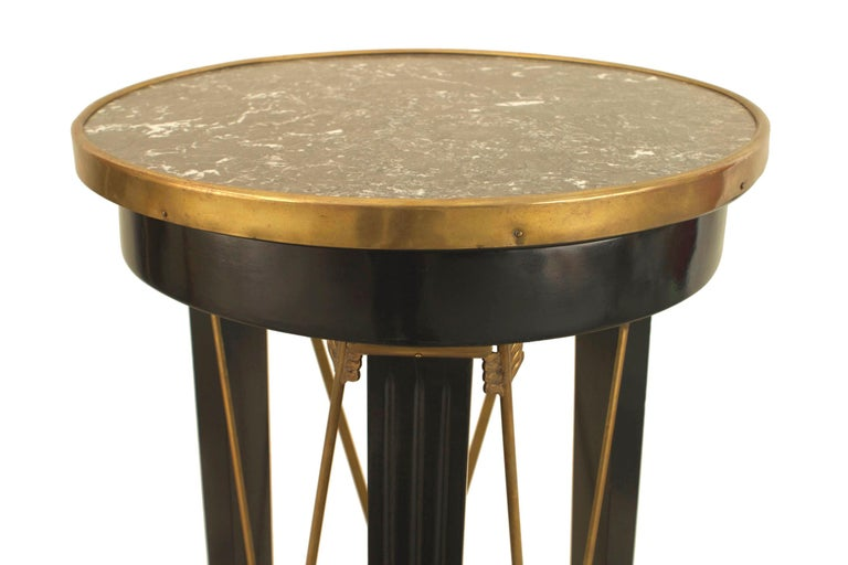 1940s French Louis XVI Bronze-Trimmed Pedestal, by Jansen In Good Condition For Sale In New York, NY