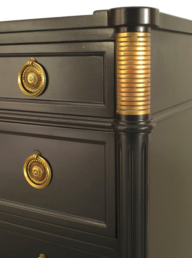 French Louis XVI style (1940s) ebonized bronze trim chest with 6 drawers having ring handles and supported on small tapered square legs. (stamped: JANSEN)