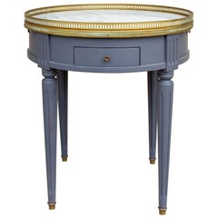 1940s French Louis XVI Style Side Table with Marble Top and Drawers in Charcoal