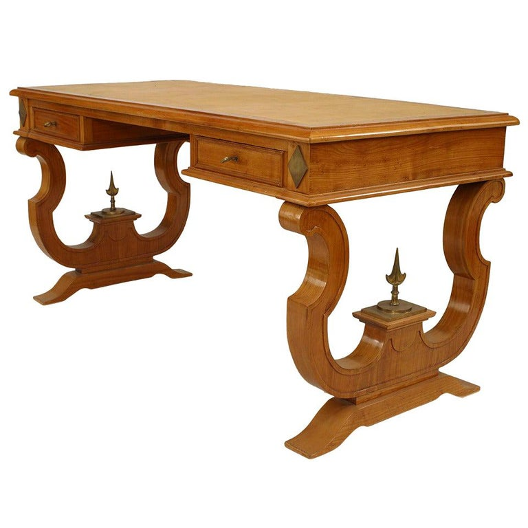 1940's French Maple and Ormolu Mounts Desk, Attributed to Andre Arbus For Sale