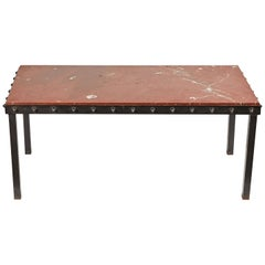 1940s French Marble Top Coffee Table with Iron Legs and Studded Trim