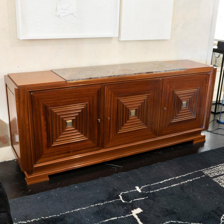 1940s French Maxime Old Mahogany Sideboard, Original Marble Top, Brass Details For Sale 1