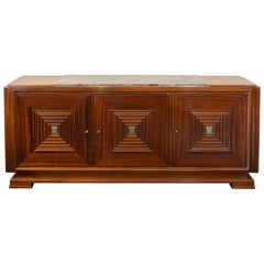1940s French Maxime Old Mahogany Sideboard, Original Marble Top, Brass Details