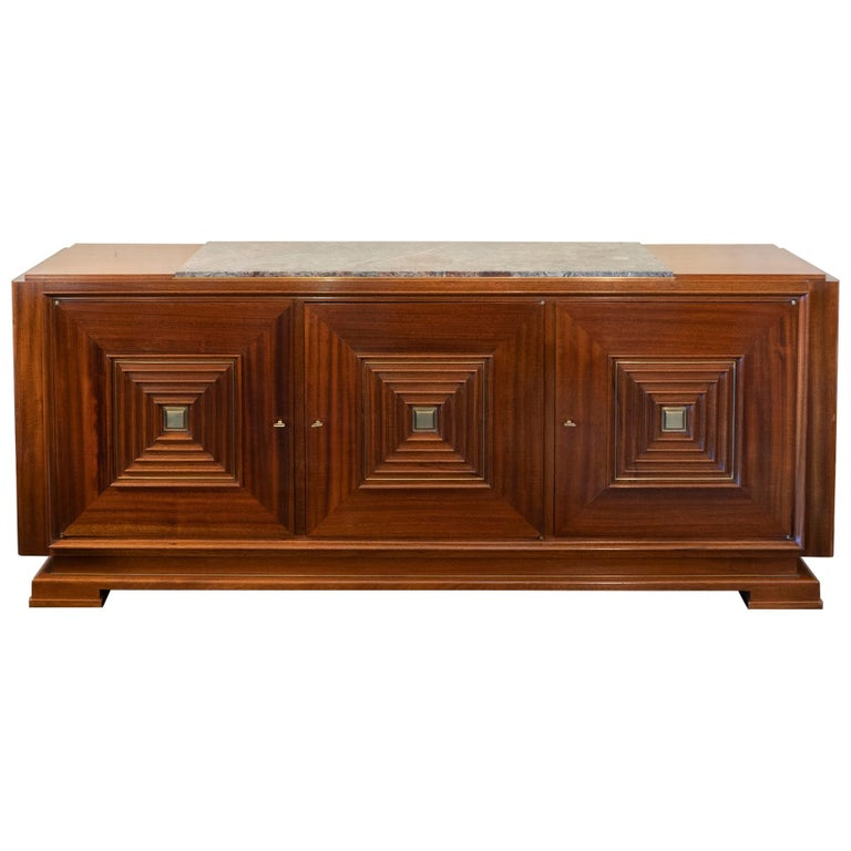 1940s French Maxime Old Mahogany Sideboard, Original Marble Top, Brass Details For Sale