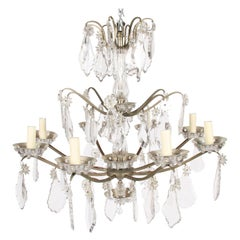 1940s French Metal and Crystal Chandelier by Baccarat