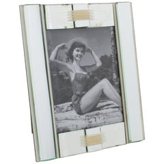 1940s French Mirror and Glass Picture Frame