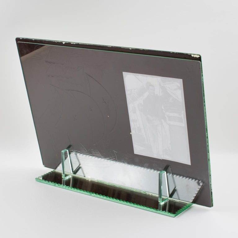 1940s French Mirror Picture Frame Etching Antique Boat For Sale 4