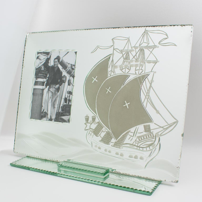 Mid-20th Century 1940s French Mirror Picture Frame Etching Antique Boat For Sale