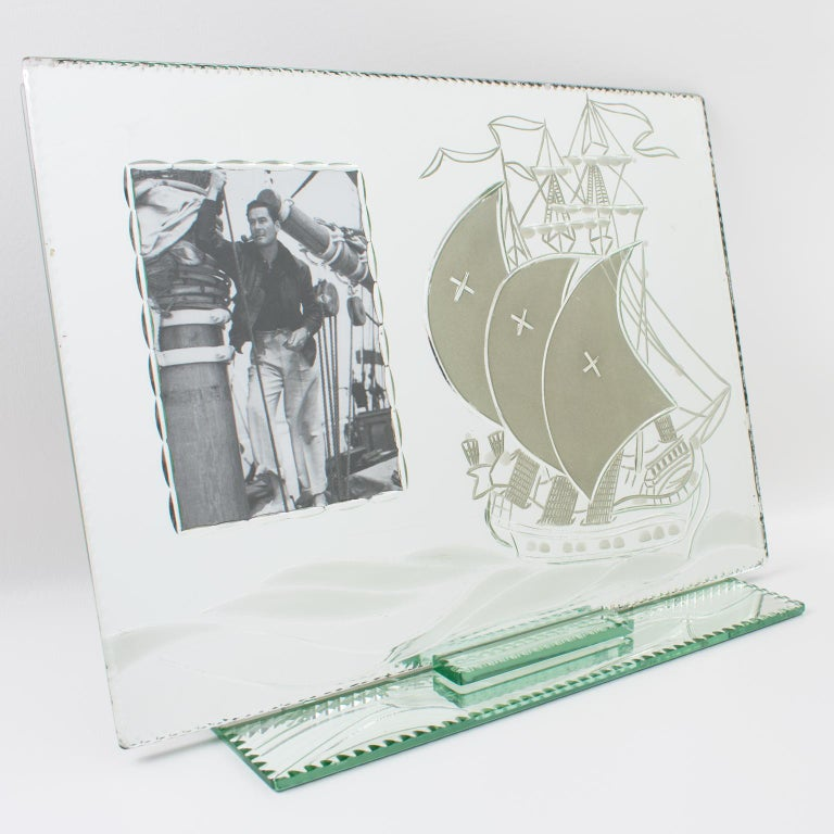 Glass 1940s French Mirror Picture Frame Etching Antique Boat For Sale