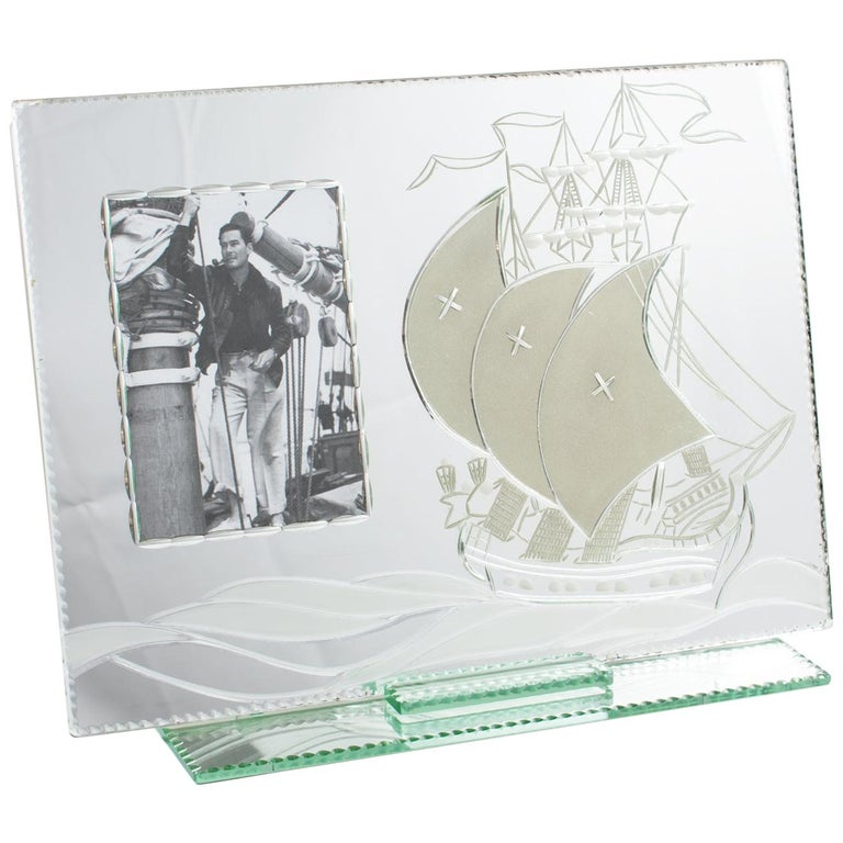 1940s French Mirror Picture Frame Etching Antique Boat For Sale