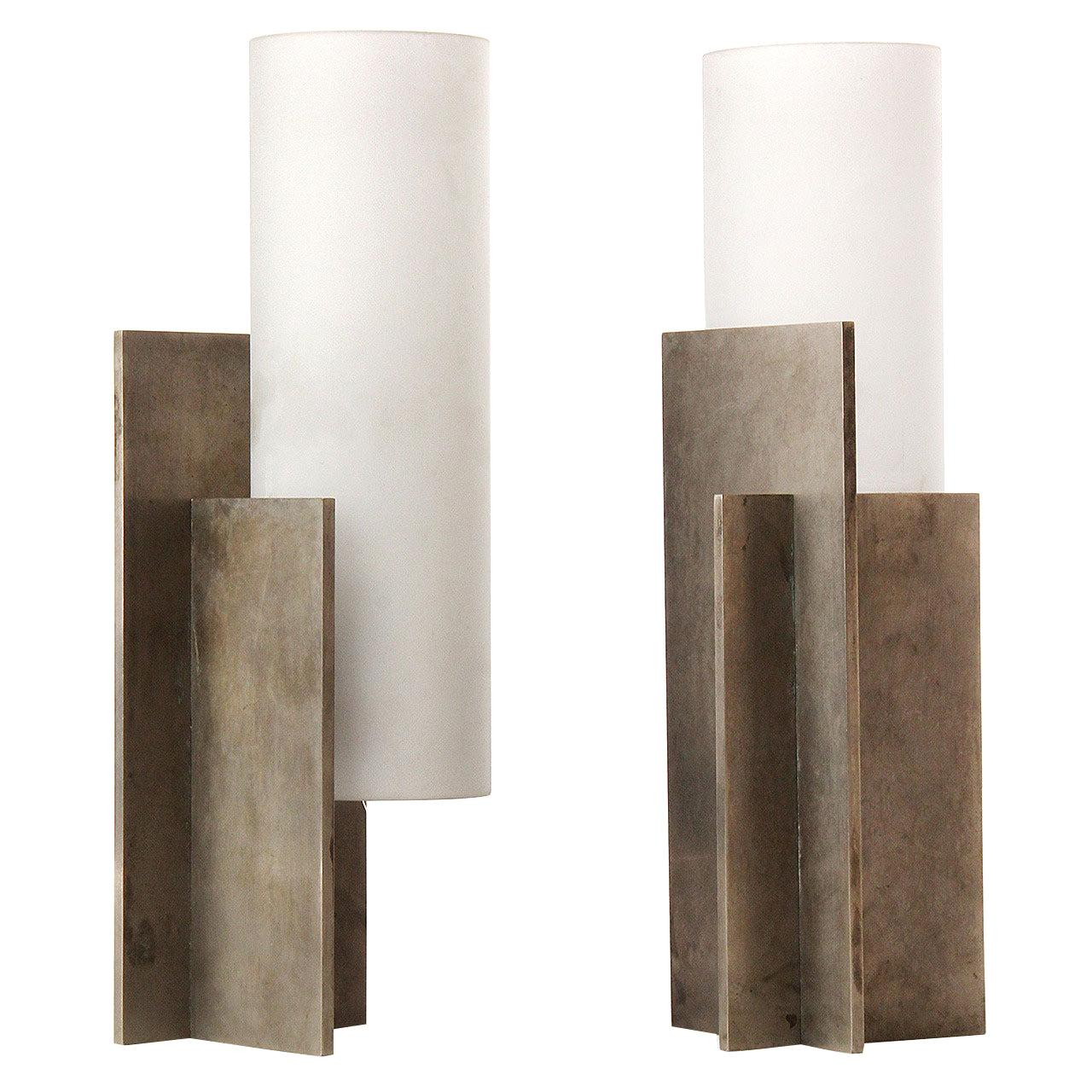 1940s French Modernist Steel and Glass Table Lamps by Boris Lacroix