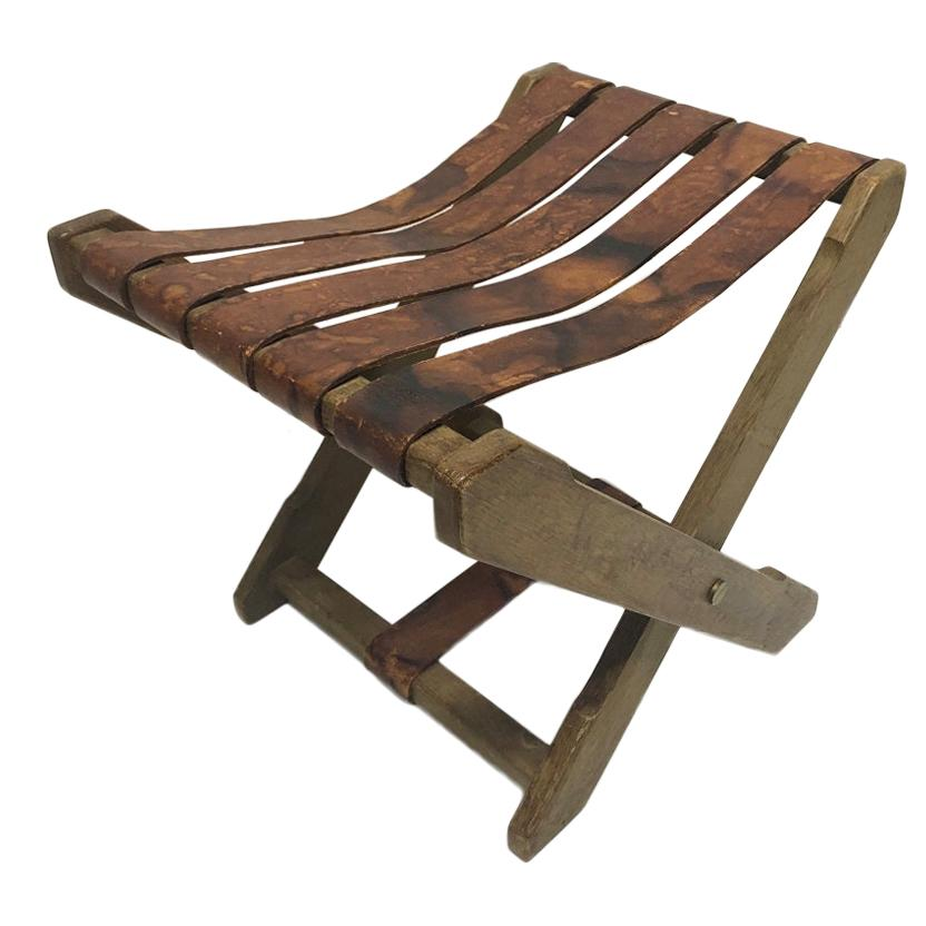 1940s French Oak and Leather Folding Stool