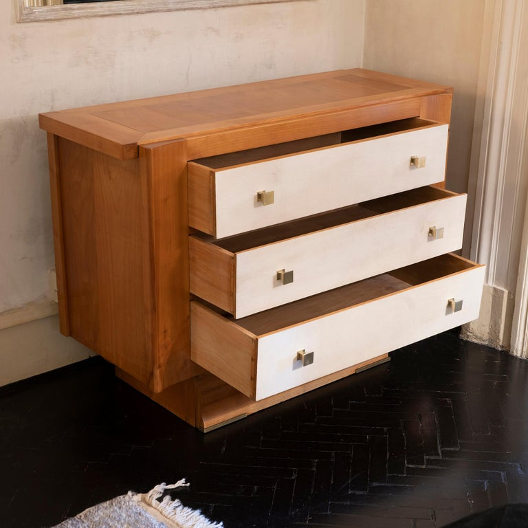 Mid-Century Modern 1940s French Oak and Parchment Chest of Drawers, Brass Details For Sale