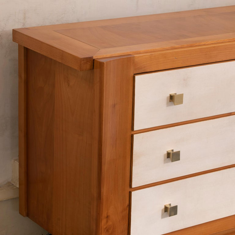 Mid-20th Century 1940s French Oak and Parchment Chest of Drawers, Brass Details For Sale