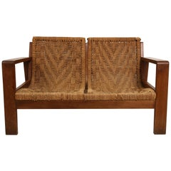 1940s French Oak and Reed Woven Loveseat