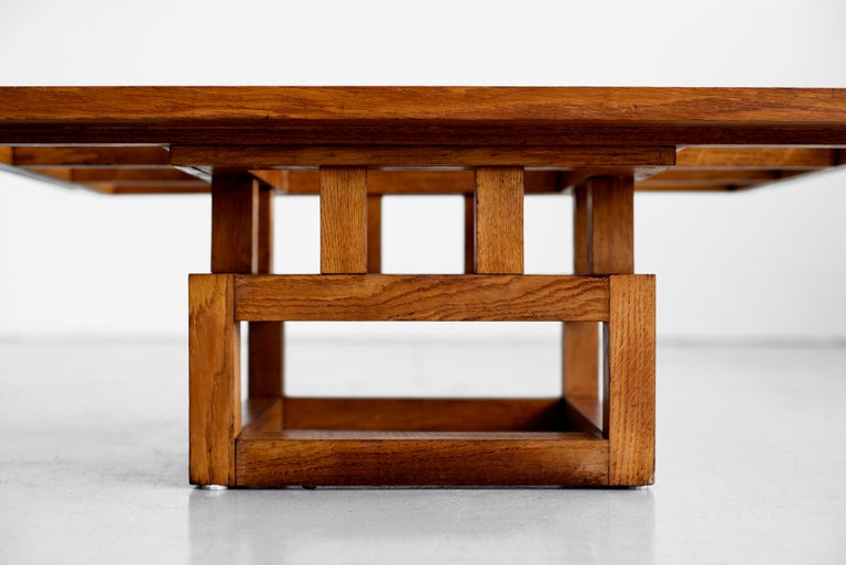 1940s French Oak Coffee Table For Sale 1