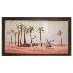1940s French Orientalist Oasis Watercolor Signed