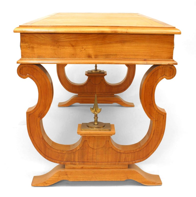 Art Deco 1940's French Maple and Ormolu Mounts Desk, Attributed to Andre Arbus For Sale