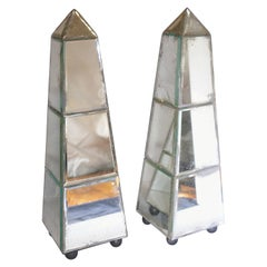 1940s French Pair of Mirrored Obelisk Objet Sculptures