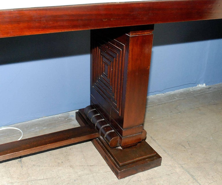 1940s French Parchment Console Table In Good Condition For Sale In Cathedral City, CA