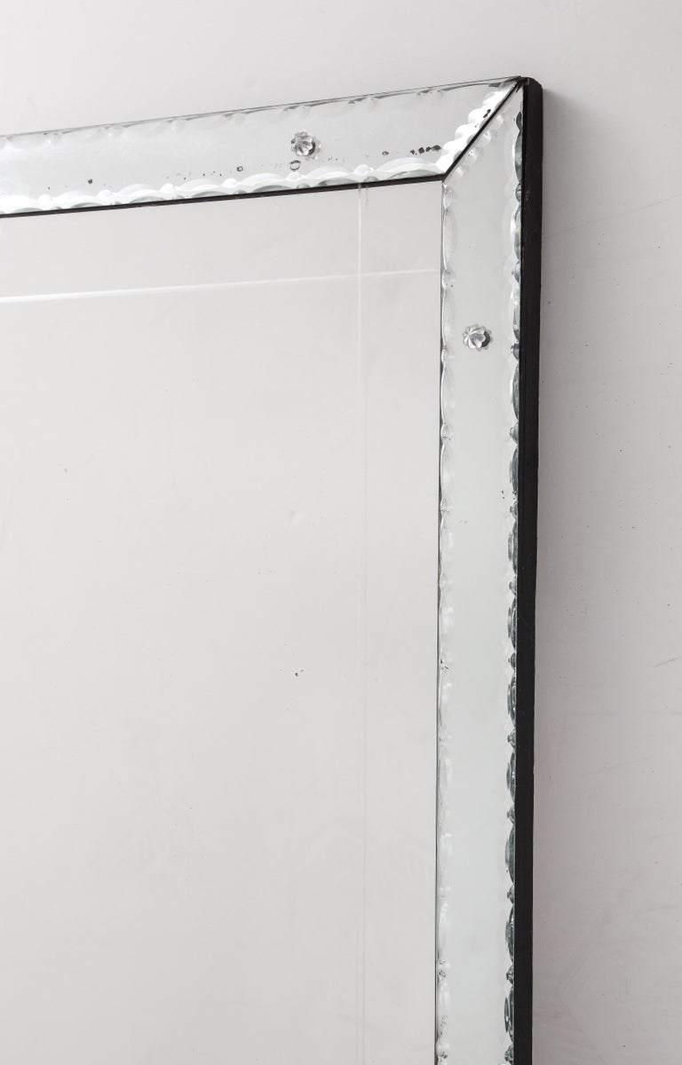 Etched 1940s French Pie Crust Full Length Mirror For Sale