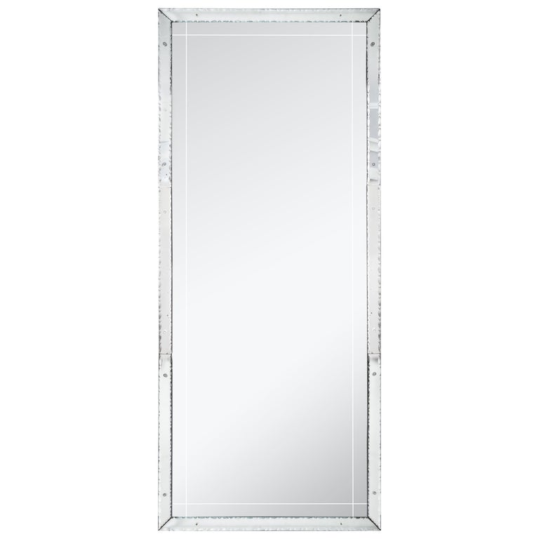 1940s French Pie Crust Full Length Mirror For Sale