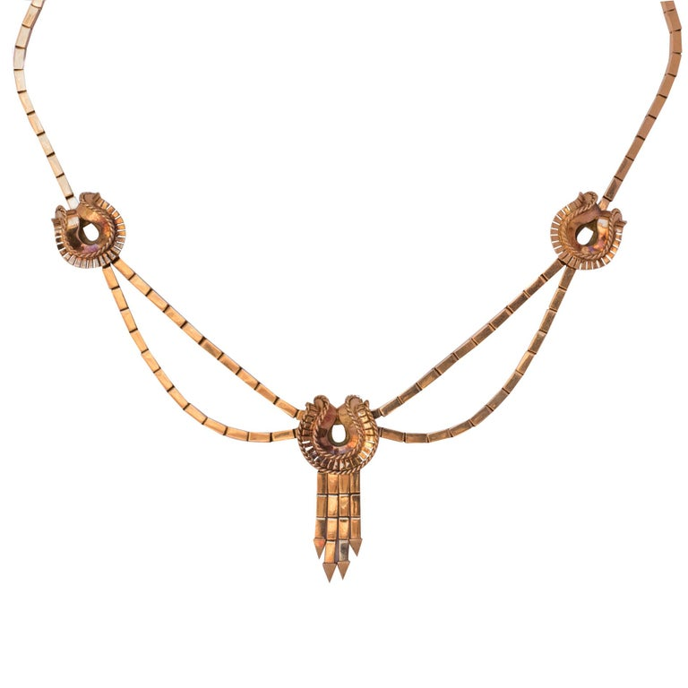 1940s French Retro 18 Karat Yellow Gold Tassel Necklace  For Sale