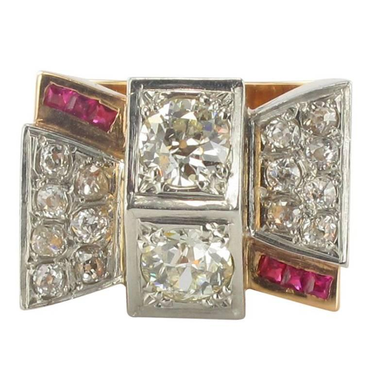1940s French Retro 2.10 Carat Diamond Rose Gold Tank Ring