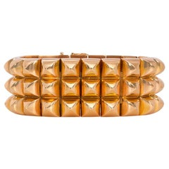 1940s French Rose Gold Bracelet of Pyramid-Shaped Links