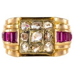 1940s French Ruby Diamond Gold Tank Ring