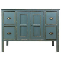 1940s French Rustic Pine Dresser in Greyish Blue Color