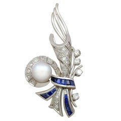 1940s French Sapphire and Diamond, Cultured Pearl and Platinum Spray Brooch