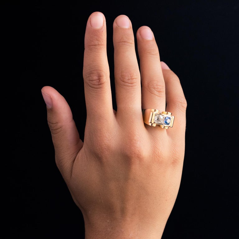 1940s French Sapphire Diamond 18 Karat Yellow Gold Platinum Duo Tank Ring For Sale 4
