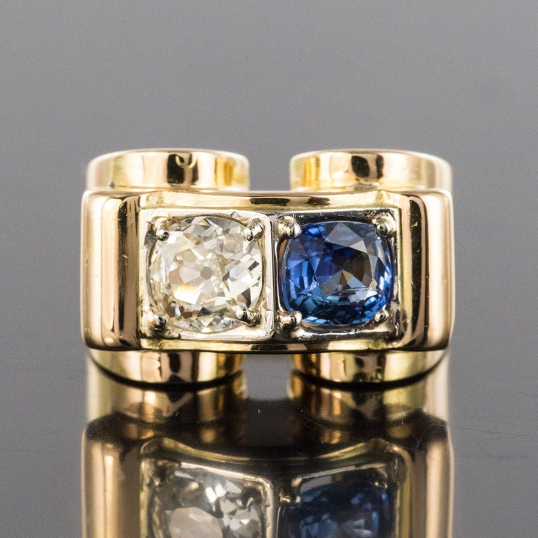 1940s French Sapphire Diamond 18 Karat Yellow Gold Platinum Duo Tank Ring For Sale 5