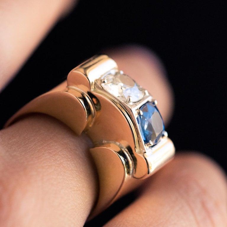 1940s French Sapphire Diamond 18 Karat Yellow Gold Platinum Duo Tank Ring For Sale 6
