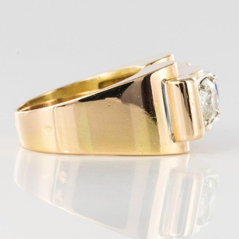 1940s French Sapphire Diamond 18 Karat Yellow Gold Platinum Duo Tank Ring For Sale 7